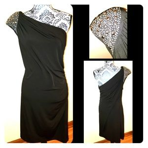 Black one shoulder dress with dazzling💎 detail